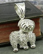 Small Breed Floppy Eared Dog in Sterling Silver with CZ