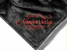 Personalized Monogrammed Throw Blanket w/ Embroidery Anniversary Blanket