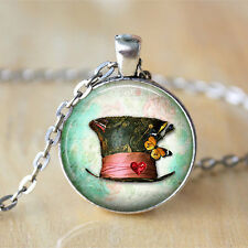 Mad Hatter Hat • Alice In Wonderland Jewelry chain Pendant Necklace