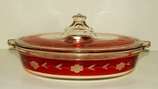 Rare Vintage Ruby Red Flash Band Clear Pyrex w / Etched Flowers Casserole w  Lid
