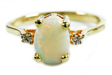 Women's 1.58 ct Opal & G/SI2 Diamond GIA Spec 3 Stone Ring 14k Solid Yellow Gold