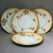 4 Antique HAVILAND LIMOGES CABINET PLATES Hand Painted Flowers Gold 8 1/2""