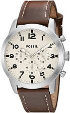 Fossil FS5146 Men's Pilot 54 Dark Brown Leather Band Chronograph Date Watch