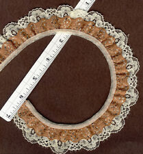 "Double gathered lace trim Cream and Brown 1"" wide 15yds    (XD159)"