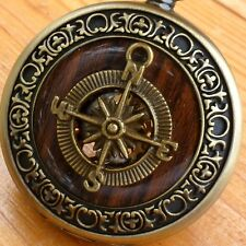 Steampunk Victorian Compass pocket watch nautical pirate pendant charm wedding