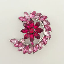 New Pink Moon Crescent Purple Cherry Flower Wedding Crystal Brooch Pin BR01215