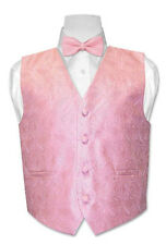 Boy's Vest with Bow Tie Pink Paisley Design Size 8 NEW