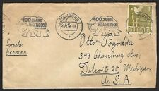 Germany Bizone 1M on 1948 EF cover to USA Michel 959