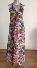 NEW ATMOSPHERE ANIMAL PRINT CHIFFON LINED MAXI DRESS CROSS BACK UK 8 AC54
