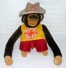 """RUHOF RESCUE SQUAD HAND PUPPET MONKEY LIFE GUARD 13"""" SITTING PRIMATE PLAY TOY"""
