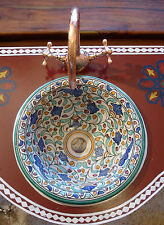 Moroccan small hand painted multi colour ceramic  round sink wash basin