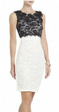 "$398 BCBG OFF WHITE COMBO ""CERISE"" SLEEVELESS LACE APPLIQUE DRESS NWT 2"