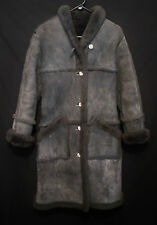 SHEARLING COAT LADIES VINTAGE FITTED OVERLAND SHEEPSKIN CO. CHARCOAL GRAY SZ 10