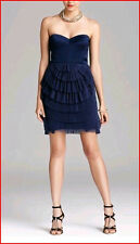 BCBG SAS CARBON PLEATED RUFFLED TULLE STRAPLESS DRESS size 0 NWT $338-RackA/93