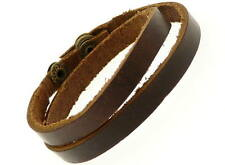 Dark Brown Leather Wrap Around Strap Wristband Bracelet - 15