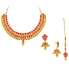 Spargz Ethnic Design Necklace Set Studded with Kemp Stone KNS 3070