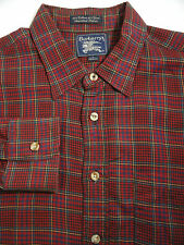 Vtg BURBERRYs Cotton Wool Blend Button Down Red Plaid LS Shirt Mens Large USA