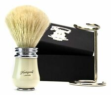 PURE WHITE BADGER HAIR SHAVING BRUSH IN IVORY HANDLE COMES WITH STAND.FOR MEN'S