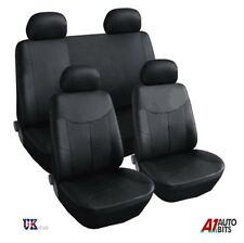 BLACK LEATHERETTE LIGHT FABRIC FULL CAR SEAT COVERS SET FOR TOYOTA PRIUS 2012