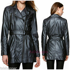 NWT $250 L Kenneth Cole Reaction Faux Leather Moto Quilted Trench Coat Jacket