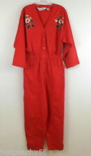 Vintage DVF Diane Von Furstenberg Red Jumpsuit Cotton Embellished Large
