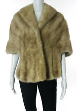 WITKY'S FUR Beige Mink Fur Collared Wrap Poncho Coat Sz M RB742
