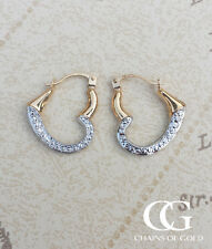 9ct Two Colour Gold Heart Creole Earrings