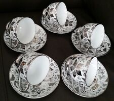 Rare & Absolutely Beautiful Vintage 24ct White Gold Gilded China Tea Set