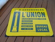 Vintage tin enamel plaque tole emaillée Assurance L'UNION Palace Vendome EAS