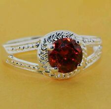 Womens silver plated ring with red crystal size  O
