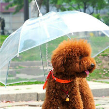 Transparent Pet Dog Cat Umbrella with Built-in-Leash Portable Dry Clean in Rain