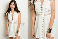 Ivory BOHO 70'S LACE UP A-line Summer Casual Knit COTTON Lace Crochet Dress M