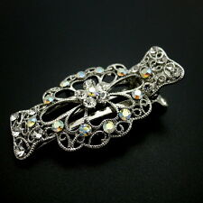 Beautiful Medium Small Silver Filigree Rhinestone Crystal Hair Claw Jaw Clip