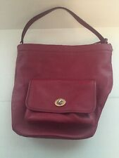 AUTHENTIC COACH PURSE LEGACY LEATHER RED BUCKET DUFFLE Black Cherry Shoulder Bag