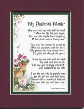 #87 Mother's Day gift present keepsake poem for mother in law. Birthday gift.