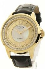 XOXO XO3305 Women's Rhinestone Accent Gold-Tone Leather Look Watch*