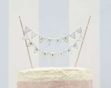 VINTAGE LACE JUST MARRIED WHITE WEDDING CAKE BUNTING TOPPER DECORATION BUNTING