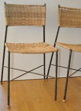 2 Stühle Rattan-Stuhl Korbstuhl/wicker chairs Drahtstühle 50s mid century Erlau