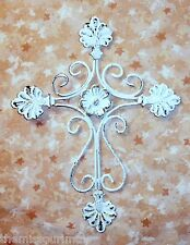 NEW~Distressed Whitewash Ornate Iron & Tin Cross Cottage Shabby Style Wall Decor