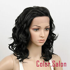 HAND TIED Synthetic Hair LACE FRONT FULL WIGS GLUELESS HEAT SAFE Off Black 76#1B