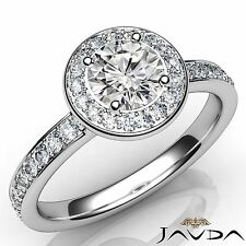 0.95ct Round Cut Diamond Halo Pave Set Engagement Ring GIA D VS2 14k White Gold