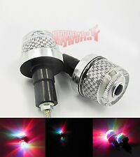 Handle Bar Hand Grips Bar End Marker Plug LED Light Lamps For Honda Motorcycle