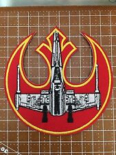 "Star Wars Rebel Alliance Symbol and X-Wing 4 "" Wide Embroidered Iron On Patch"