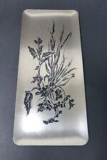 WMF Ikora Wandteller, Turmmarke, versilbert, schwarzes Dekor: Blumen, 50er Jahre