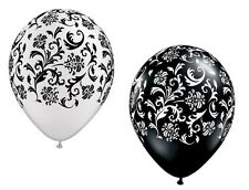 DAMASK BLACK and WHITE Print (10) Shower Wedding Latex Helium Quality Balloons