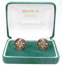 1956 Sixpence cufflinks from real coins in Black & Gold