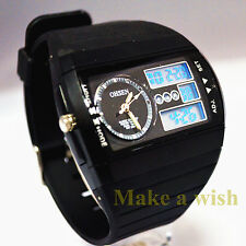 OHSEN Fashion Men's Sport Black LCD Digital&Analog Rubber Cool Wrist Watch New