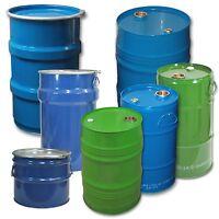Stahlfass Stahl-Hobbock 30 - 120 Liter Spundfass Deckelfass Metallfass NEUWARE
