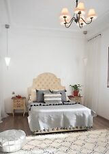 Moroccan pompom blanket handmade cotton throw pompom pillow wedding blanket