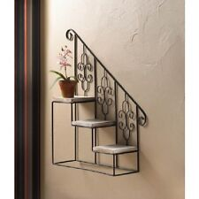 Black metal iron wooden 3 tier stairway wall hanging plant stand disply shelf